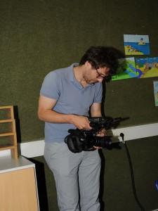 Daniel Huhn von der Uni Münster bei den Dreharbeiten.